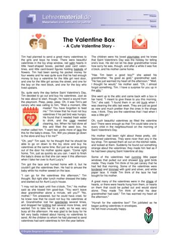 Vorschaugrafik 1 für das  Arbeitsblatt The Valentine Box von Lehrermaterial.de.