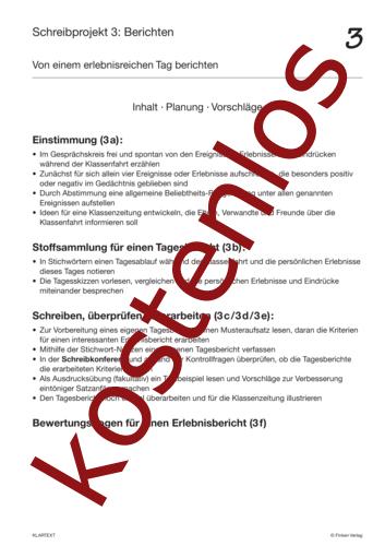 Vorschaugrafik 1 für das kostenlose Arbeitsblatt Bericht - Inhalt, Planung, Vorschläge von Lehrermaterial.de.