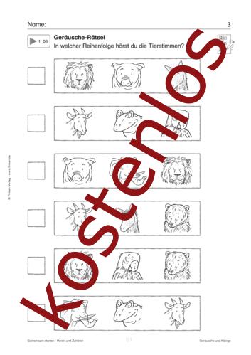 Vorschaugrafik 1 für das kostenlose Arbeitsblatt Geräusche-Rätsel von Lehrermaterial.de.