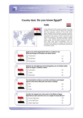 Vorschaugrafik 1 für das  Arbeitsblatt Country Quiz: Do you know Egypt? von Lehrermaterial.de.