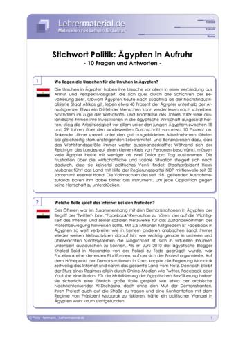 Vorschaugrafik 1 für das  Arbeitsblatt Stichwort Politik: Ägypten in Aufruhr von Lehrermaterial.de.