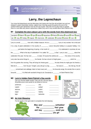 Vorschaugrafik 1 für das  Arbeitsblatt Larry, the Leprechaun  von Lehrermaterial.de.