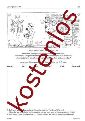 Vorschaugrafik für das kostenlose Arbeitsblatt Zeitungsnachricht von Lehrermaterial.de