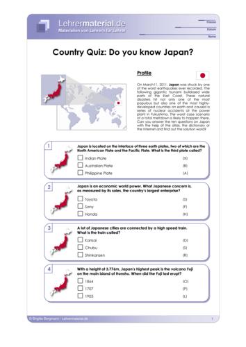 Vorschaugrafik 1 für das  Arbeitsblatt Country Quiz: Do you know Japan? von Lehrermaterial.de.