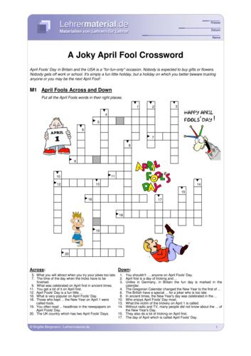 Vorschaugrafik für das  Arbeitsblatt A Joky April Fool Crossword von Lehrermaterial.de