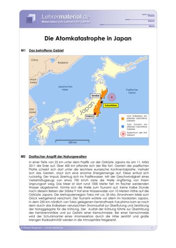 Vorschaugrafik 1 für das  Arbeitsblatt Die Atomkatastrophe in Japan (aktualisiert) von Lehrermaterial.de.