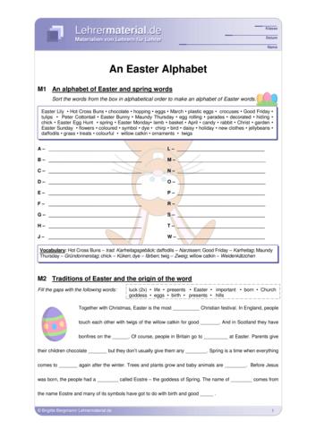 Vorschaugrafik 1 für das  Arbeitsblatt An Easter Alphabet von Lehrermaterial.de.