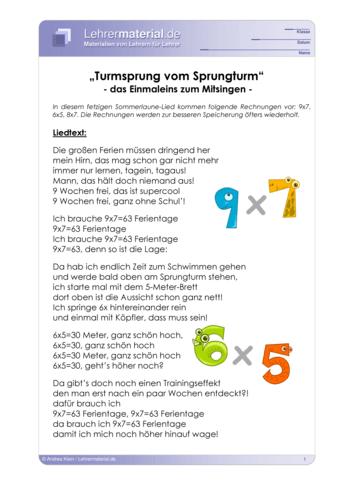Vorschaugrafik 1 für das  Arbeitsblatt Rock me 1x1 - Turmsprung vom Sprungturm von Lehrermaterial.de.