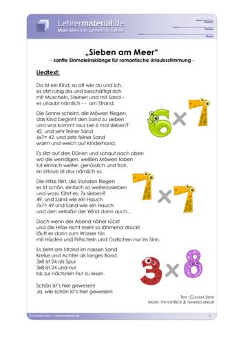 Vorschaugrafik für das  Arbeitsblatt Rock me 1x1 - Sieben am Meer von Lehrermaterial.de