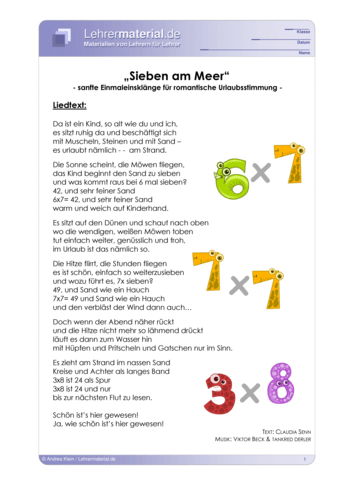 Vorschaugrafik 1 für das  Arbeitsblatt Rock me 1x1 - Sieben am Meer (mit Noten) von Lehrermaterial.de.