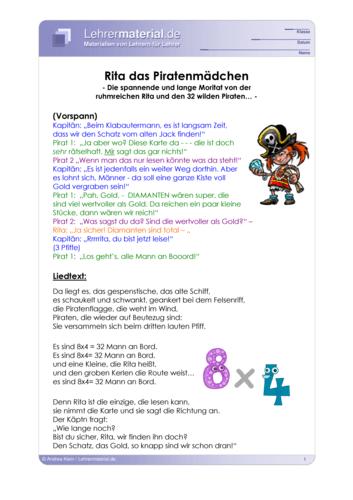 Vorschaugrafik für das  Arbeitsblatt Rock me 1x1 - Rita das Piratenmädchen von Lehrermaterial.de