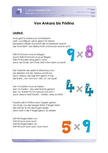 Vorschaugrafik 1 für das  Arbeitsblatt Rock me 1x1 - Von Ankara bis Pristina von Lehrermaterial.de.