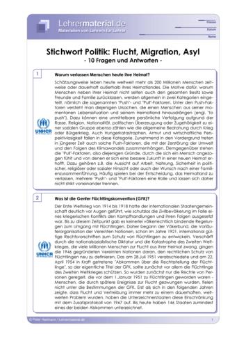 Vorschaugrafik 1 für das  Arbeitsblatt Stichwort Politik: Flucht, Migration, Asyl von Lehrermaterial.de.
