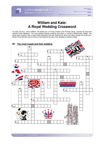 Vorschaugrafik 1 für das  Arbeitsblatt William and Kate: A Royal Wedding Crossword von Lehrermaterial.de.