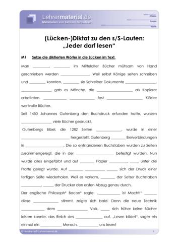Vorschaugrafik 1 für das  Arbeitsblatt (Lücken-) Diktat zu den s/S-Lauten von Lehrermaterial.de.