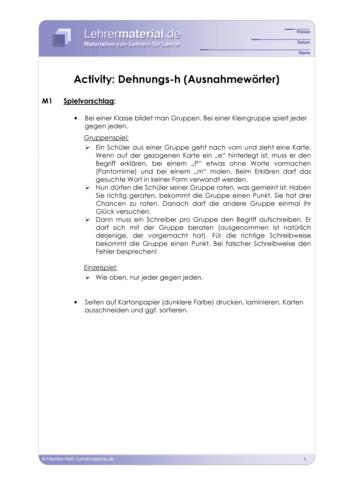 Vorschaugrafik 1 für das  Arbeitsblatt Activity: Dehnungs-h (Ausnahmewörter) von Lehrermaterial.de.