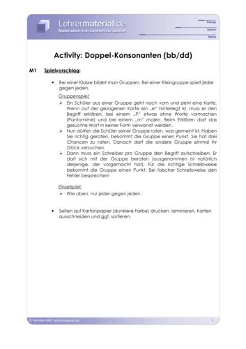 Vorschaugrafik 1 für das  Arbeitsblatt Activity: Doppel-Konsonanten (bb/dd) von Lehrermaterial.de.