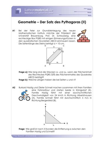 Vorschaugrafik 1 für das  Arbeitsblatt Geometrie - Satz des Pythagoras (II) von Lehrermaterial.de.