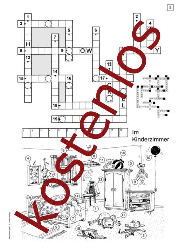 Vorschaugrafik für das kostenlose Arbeitsblatt Kreuzworträtsel: Im Kinderzimmer von Lehrermaterial.de