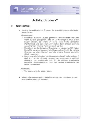 Vorschaugrafik 1 für das  Arbeitsblatt Activity: ck oder k? von Lehrermaterial.de.