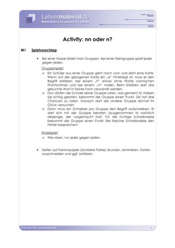 Vorschaugrafik 1 für das  Arbeitsblatt Activity: nn oder n? von Lehrermaterial.de.
