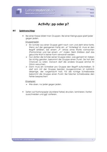 Vorschaugrafik 1 für das  Arbeitsblatt Activity: pp oder p? von Lehrermaterial.de.