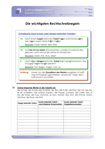 Vorschaugrafik 1 für das  Arbeitsblatt Die wichtigsten Rechtschreibregeln von Lehrermaterial.de.