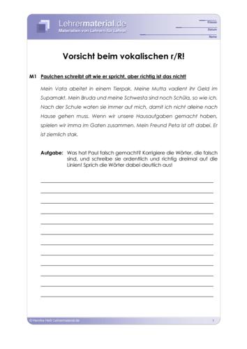 Vorschaugrafik 1 für das  Arbeitsblatt Vorsicht beim vokalischen r/R von Lehrermaterial.de.