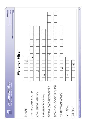 Vorschaugrafik 1 für das  Arbeitsblatt Wortarten-Rätsel von Lehrermaterial.de.
