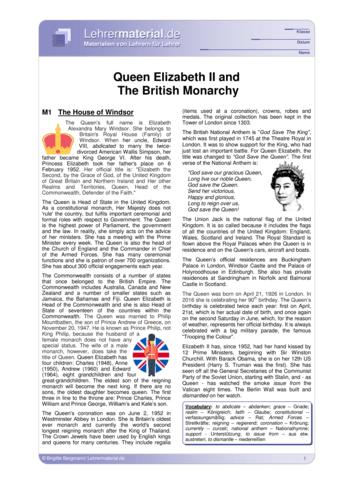Vorschaugrafik 1 für das  Arbeitsblatt Queen Elizabeth II and the British Monarchy von Lehrermaterial.de.