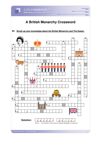 Vorschaugrafik 1 für das  Arbeitsblatt A British Monarchy Crossword von Lehrermaterial.de.