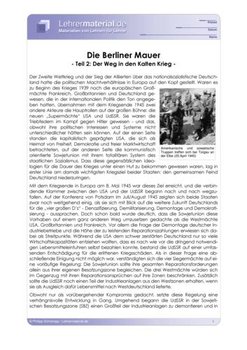 Vorschaugrafik 1 für das  Arbeitsblatt Die Berliner Mauer (II) - Der Weg in den Kalten Krieg von Lehrermaterial.de.