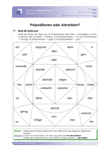 Vorschaugrafik 1 für das  Arbeitsblatt Präpositionen oder Adverbien? von Lehrermaterial.de.