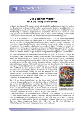 Vorschaugrafik 1 für das  Arbeitsblatt Die Berliner Mauer (III) - Die Teilung Deutschlands  von Lehrermaterial.de.