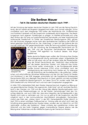 Vorschaugrafik 1 für das  Arbeitsblatt Die Berliner Mauer (IV) - Die beiden dt. Staaten nach 1949 von Lehrermaterial.de.