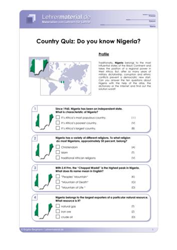 Vorschaugrafik 1 für das  Arbeitsblatt Country Quiz: Do you know Nigeria? von Lehrermaterial.de.