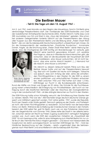 Vorschaugrafik 1 für das  Arbeitsblatt Die Berliner Mauer (V) - Die Tage um den 13. August 1961 von Lehrermaterial.de.
