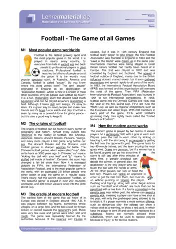 Vorschaugrafik 1 für das  Arbeitsblatt Football - The Game of All Games  von Lehrermaterial.de.