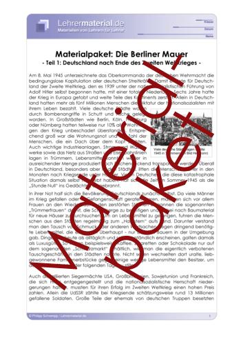 Vorschaugrafik 1 für das  Arbeitsblatt Materialpaket: Die Berliner Mauer von Lehrermaterial.de.