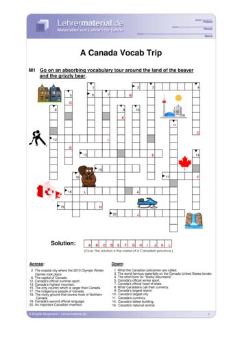 Vorschaugrafik 1 für das  Arbeitsblatt A Canada Vocab Trip von Lehrermaterial.de.