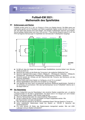 Vorschaugrafik 1 für das  Arbeitsblatt Frauenfußball-WM 2019: Mathematik des Spielfeldes von Lehrermaterial.de.