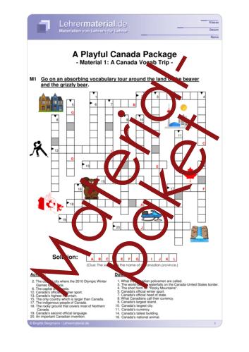 Vorschaugrafik 1 für das  Arbeitsblatt A Playful Canada Package von Lehrermaterial.de.