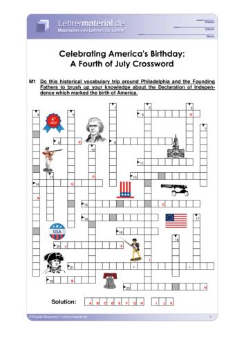 Vorschaugrafik 1 für das  Arbeitsblatt Celebrating America's Birthday: A Fourth of July Crossword von Lehrermaterial.de.