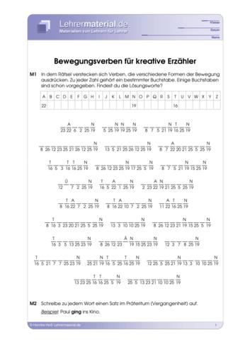 Vorschaugrafik 1 für das  Arbeitsblatt Bewegungsverben für kreative Erzähler von Lehrermaterial.de.