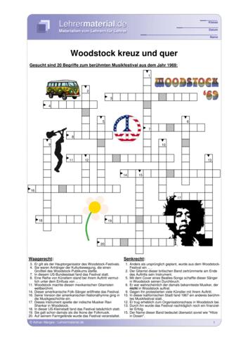 Vorschaugrafik für das  Arbeitsblatt Woodstock - kreuz und quer von Lehrermaterial.de
