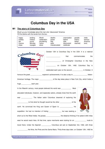 Vorschaugrafik 1 für das  Arbeitsblatt Columbus Day in the USA von Lehrermaterial.de.
