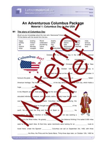 Vorschaugrafik 1 für das  Arbeitsblatt An Adventurous Columbus Package von Lehrermaterial.de.