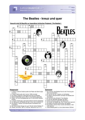 Detailseite für das  Arbeitsblatt The Beatles - kreuz und quer öffnen