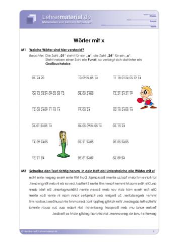Vorschaugrafik 1 für das  Arbeitsblatt Wörter mit x von Lehrermaterial.de.