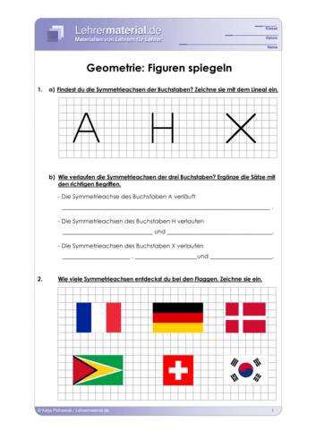 Vorschaugrafik 1 für das  Arbeitsblatt Geometrie: Figuren spiegeln von Lehrermaterial.de.